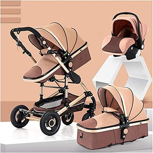 Cochecito de bebé, buggy, cochecito de bebé 3 en 1: cochecito de cochecito de cochecito de cochecito 3 en 1, caminata para niños para niños para niños con soporte de lujo con titular (Color : Brown)