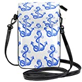 XCNGG bolso del teléfono Nautical Pattern With Anchors And Rope Cell Phone Purse Wallet for Women Girl Small Crossbody Purse Bags