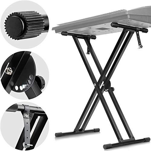 CAHAYA キーボードスタンド X型 折りたたみ 5段階高さ調整可能 Keyboard Stand 電子ピアノスタンド 61 76 88鍵 ボード適用 日本語取付説明書付き