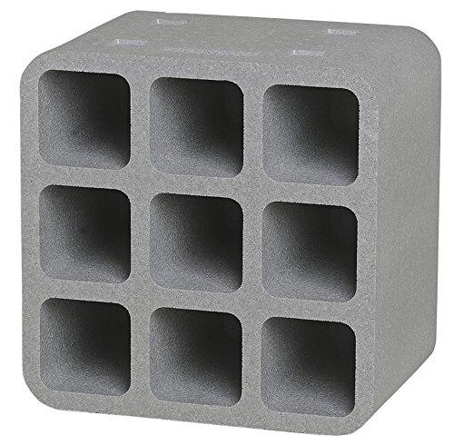 CLIMAPOR Flaschenbox Cube aus Styropor, grau - für 9 Flaschen max. Ø 9 cm, 1 Stück