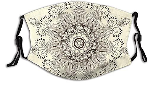 Moda 2 capas lavable Protcetion máscara reutilizable, árabe Mandala símbolo ritual universo unidad de la vida Shabby Chic étnico Motivo | con filtro