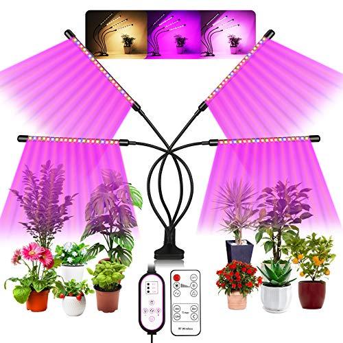 Maxsure Pflanzenlampe Led Vollspektrum, 80W Led Pflanzenlicht, 4 Heads 80Leds Pflanzenleuchte, 3 Beleuchtungsmodi, 10 Helligkeiten, 360°Einstellbar Led Grow Lampe mit Zeitschaltuhr für Zimmerpflanzen
