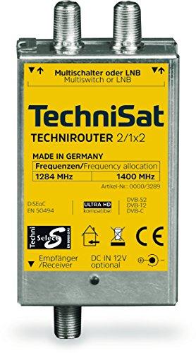 TechniSat TECHNIROUTER MINI 2/1x2 - Einkabellösung / Unicable (für Twin-Empfang, 2 Sat-Positionen über ein Kabel, angeschlossene Sat-Receiver / TV müssen Unicable unterstützen, SD/HDTV, DVB-T2)