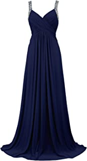 Women's Tulle Beading A-Line Bridesmaid Prom Dresses Long Cocktail Evening Gowns