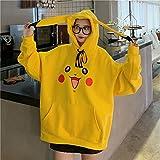 Photo de YUK Amine Pokemon Sweat à capuche pour femme style hip-hop à manches longues pour fille Motif Harajuku Jaune Taille XXL