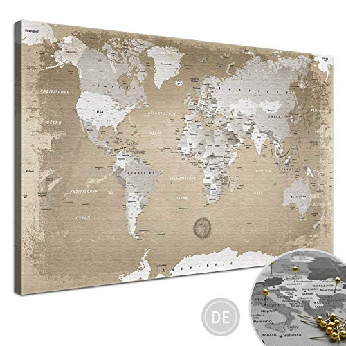 """LANA KK - Weltkarte Leinwandbild mit Korkrückwand zum pinnen der Reiseziele – """"Weltkarte Natur"""" - deutsch - Kunstdruck-Pinnwand Globus in braun, in 100x70cm"""