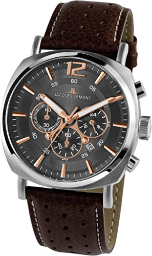 Jacques Lemans Herren Analog Quarz Uhr mit Leder Armband 1-1645H