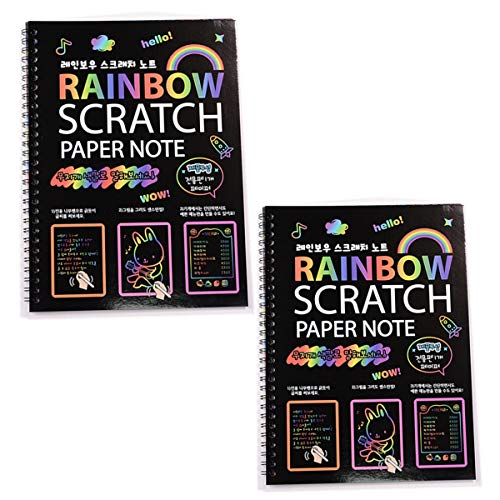 Q-XIAOKEAI, Livro de anotações em papel de arte com arco-íris grande, cor mágica, desenho totalmente preto