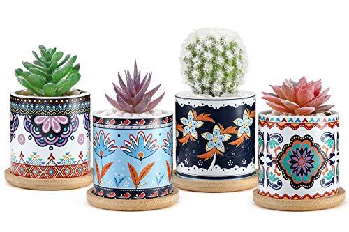 Roylvan Vasi Fiori, Vasi Fiori 4 Pezzi in Ceramica con Vassoio in Bamboo, Foro Drenaggio Dim 7,5 x 7,5 x 7,5 cm, Accessori Piante, Vasi per Piante Grasse Cactus, Balcone, Casa - Multicolori