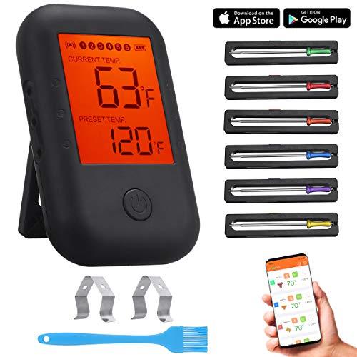 Comfook Termometro Cucina Wireless, Termometro Bluetooth Sonda Carne Digitale App Controllo con 6 Sonde per Cucina, Grill, Cibo, Latte, Bistecca, Pesce, Barbecue
