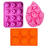 3PCS 3D Silicone Molds Cupcake Baking Mold DIY Cake Mold Soap molds Included 12-cavity Flowers Mold, 6-cavity Flowers Silicone Muffin Mold and 8-cavity Insect Silicone Cake Mold