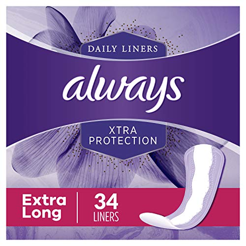 Always Xtra Protection Daily Feminine Panty Liners for Women, Extra Long, Unscented, 34 Count - Pack of 6 (204 Total Count)