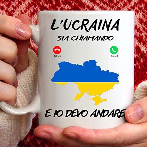 Taza Ucrania, apta para desayuno, té, tisana, café, capuchino, gadget taza de la Ucrania Mi Sta llamando y yo debo Andare. Idea de regalo original