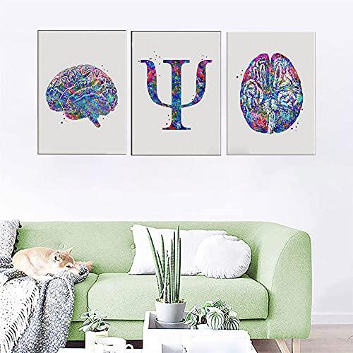 ZYQYQ Cuadros Decoración pared arte lienzo psicólogo símbolo póster acuarela cerebro psicosis decoración clínica decoratio 40x60cmx3 sin marco