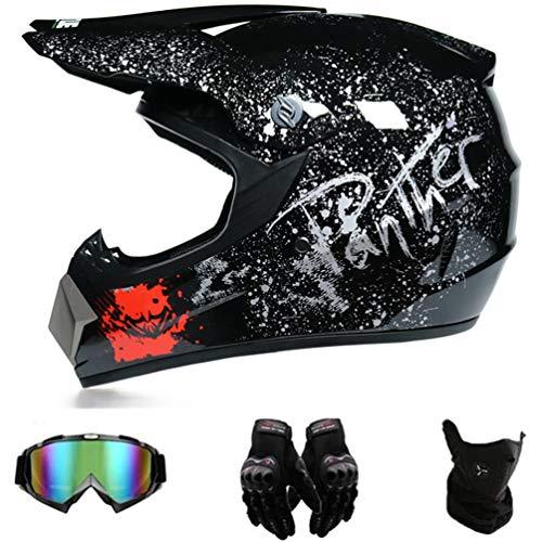 AMCYT Motocrosshelm mit Goggle Kinder-Handschuhe, Integralhelm, MTB Helm, Motocross, MX ATV, Roller, D.O.T zertifiziert (S)