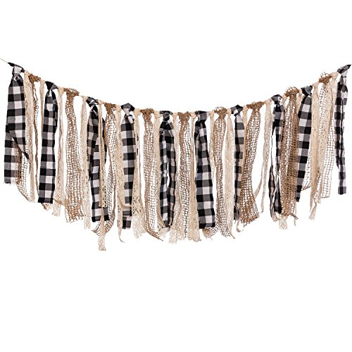 Ling's moment Buffalo Plaid Fabric Tassel Garland, Lace Burlap Rig Tie Banner, Baby Shower Decorations, Shabby Chic Garland Rag Tie Banner, 4FT (Black+White+Khaki)