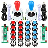 Fosiya 2 Player Arcade Games Ellipse Oval Style 8 Ways Joystick + 20 x LED Chrome Arcade Buttons for Video Games Standard Controllers All Windows PC MAME Raspberry Pi (Red + Blue Chrome Buttons)