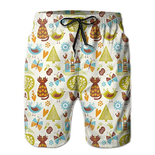 DHNKW Men's Swim Trunks Board Shorts Beach Pants Surfing Boardshorts,Cats Birds and Butterflies with Ornate Details Fantasy Castle Trees Hearts,Fancy Print Hawaiian Shorts Four Size,Large