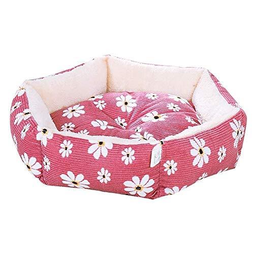 ZBQLKM Cama para Gatos para Gatos de Interior, Canasta cálida y Suave para Perros para Perros pequeños, Lavables a máquina y Fondo Antideslizante y Resistente al Agua (Color : Pink)