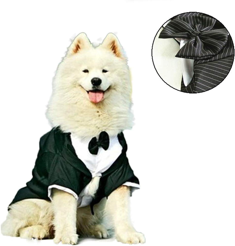 NACOCO Dog Strippato Distintivo con papillon, Tuxedo stylish per Matrimonio, Feste Halloween, Festa Formal Apparel /Costume per Grandi Cani, Nero (XL)