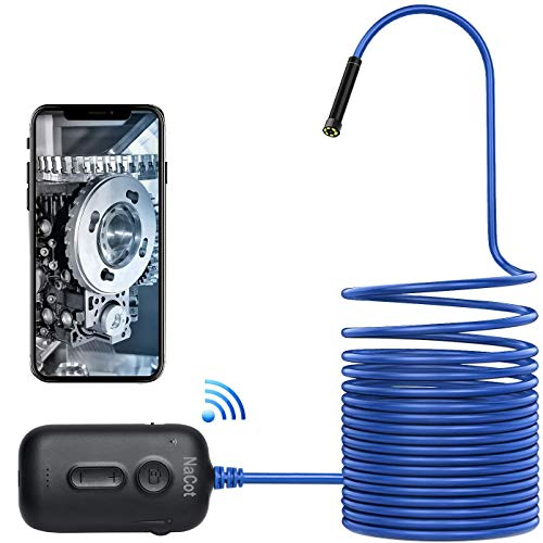 NaCot WiFi Endoskop, Endoskopkamera,IP67 wasserdichte Halbstarre kabellose Inspektionskamera 2.0 Megapixel 2600mAh Akku-Schlangenkamera für Android,IOS,iPhone,Smartphone,(16.4FT / 5M)