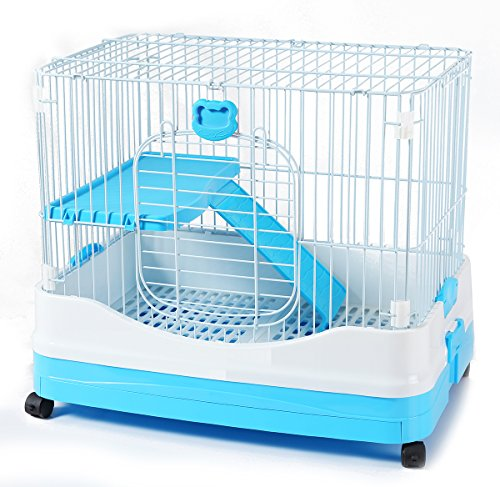 BPS Jaula para Visón Hurón Conejo Gato Roedores Pequeños Mascotas Tamaño M/L (M 57 x 67 x 48 cm, Azul) BPS-1367AZ