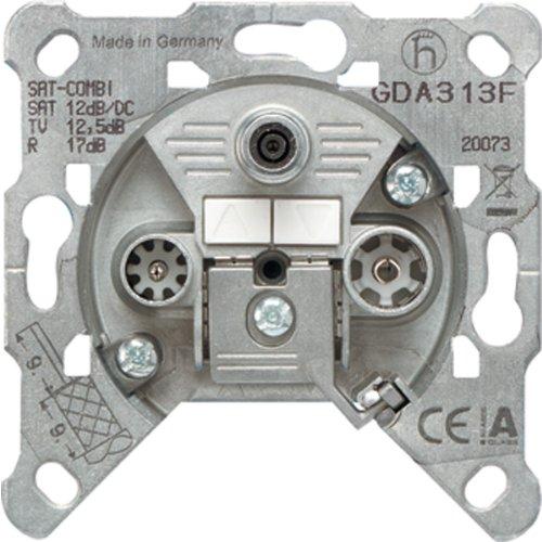 Jung GDA 313 F Durchgangsdose GDA313F 3Loch, Metallisch