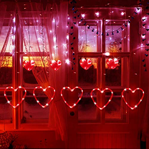 Window Curtain Lights, 138 LED Soft Bright Heart Shape Curtain String Lights with 8 Flashing Modes Battery or USB Operated Wedding Bedroom Home Patio Garden Indoor Outdoor Decor