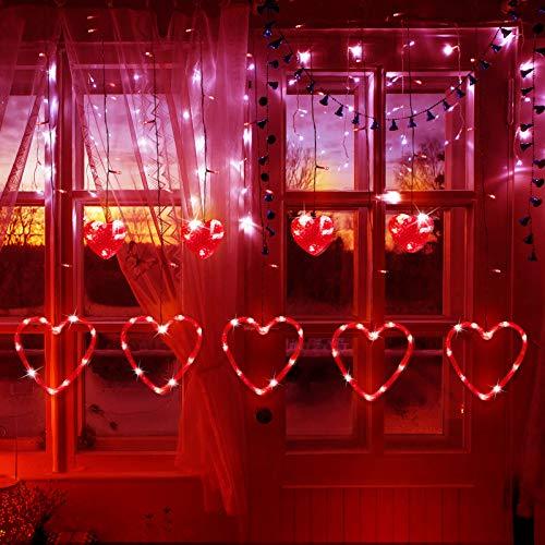 Valentinstag Herzförmige Lichter LED Vorhang Lichter in 8 Blinkenden Modi für Weihnachten Hochzeit Schlafzimmer Zuhause Fenster Dekoration (Rot)