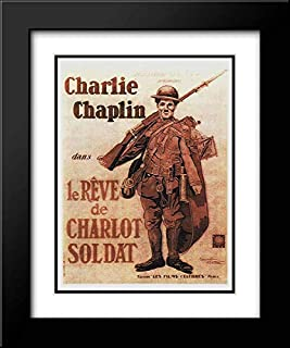 Charlie Chaplin - French - Shoulder Arms, 1918 20x24 Black Modern Frame and Double Matted Art Print by Hollywood Photo Archive