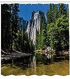 Natürlicher Duschvorhang Granit Cliff River ist für wasserdichte Badezimmer Duschvorhang geeignet