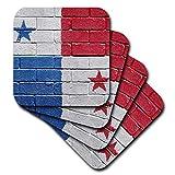 3dRose Carsten Reisinger Ilustraciones–Nacional Bandera de Panamá Pintado en una Pared de ladrillo panameña–Posavasos, Caucho, set-of-4-Soft
