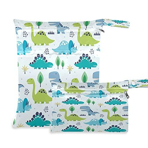 2 bolsas de tela para pañales húmedos, impermeables, diseño de dinosaurios de animales tropicales, reutilizables, lavables, para viajes, playa, yoga, gimnasio, para trajes de baño, ropa húmeda