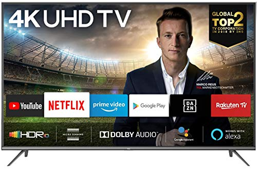 TCL 43EP640 Fernseher 108 cm (43 Zoll) Smart TV (4K UHD, HDR 10, Triple Tuner, Android TV, Micro Dimming, Prime Video, Alexa und Google Assistant) Schwarz