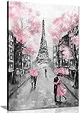 Leinwandbild, Motiv Paris, 61 x 40 cm, Pink / Schwarz /
