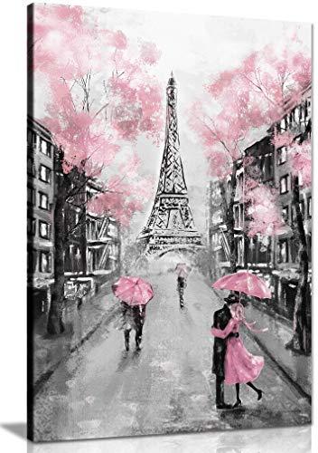 Panther Print, Lienzo decorativo para pared, con marco para sala de estar y dormitorio, color rosa, blanco y negro Paris cuadros para pared, impresión para ocasiones especiales (45 x 30 cm)