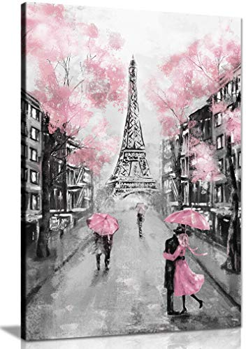 Panther Print, Canvas Wall Art, Framed Prints for Living Room and Bedroom, Pink, Black & White Paris Pictures for Wall, Print for Special Occasions (24x16 Inch)