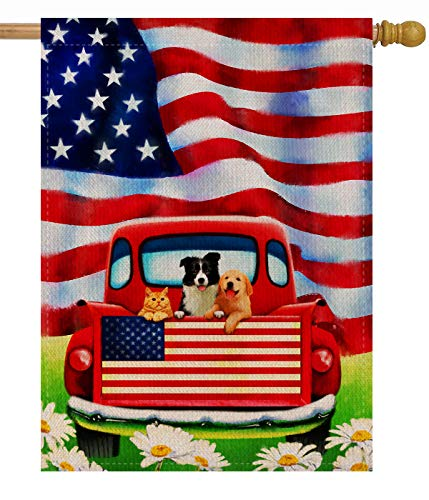 Dyrenson Home Garden Yard Decorative 4th of July Dog Flowers House Flag Large Double Sided Burlap, Rustic Farm Old Red Truck Daisy 28 x 40 Flag, American Holiday USA Seasonal Outdoor D
