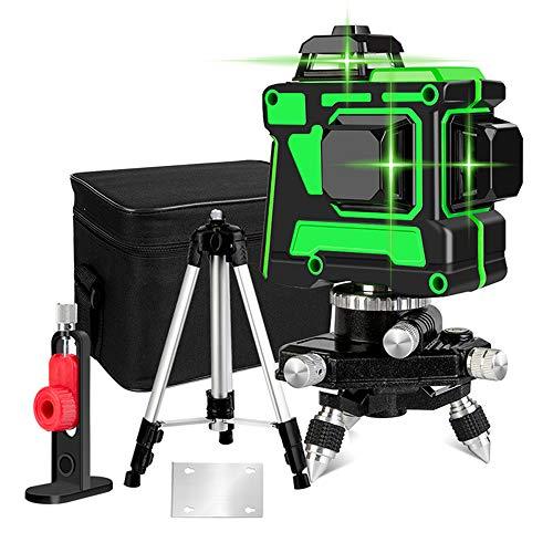 3D 12 Laserlinie Kreuzlinienlaser,3x360 Horizontales und vertikales Kreuz Superstarke grüne Laserstrahllinie, Selbstnivellierungs-Laser-Level,Magnetische Schwenkbare,Mit Stativ,Grün,12lines