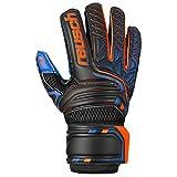 Reusch Attrakt S1 Junior - Guanti da portiere da uomo, nero/arancione scuro/blu scuro, 4