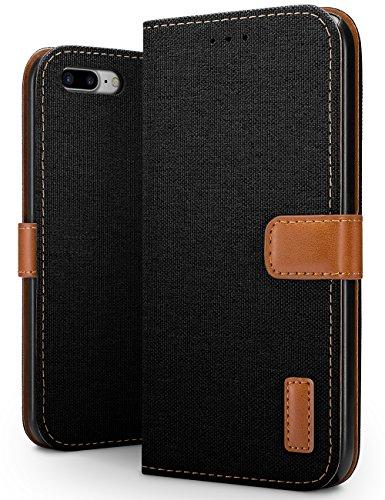 SLEO Hoesje voor iPhone 8 Plus/iPhone 7 Plus Hoes, Canvas Portemonnee Draagtas, Stoer Katoen Materiaal Beschermende Cover met Magnetische Sluiting voor iPhone 8 Plus / 7 Plus - Zwart