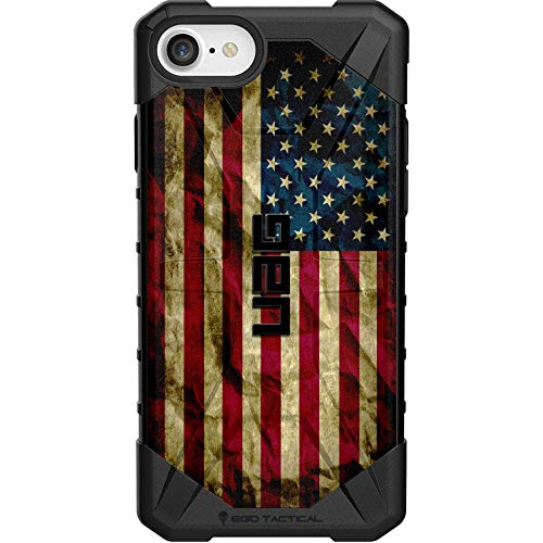 """Ego Tactical Limited Edition - Authentic UAG Urban Armor Gear Case for Apple iPhone SE (2nd Gen-2020), 8, 7, 6s, 6 (Standard 4.7"""")- Old Glory, Red White Blue Weathered US Flag"""