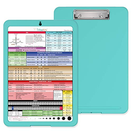 Nursing Clipboard with Storage and Clinical Cheat Sheet by Tribe RN - Nurse Clipboard Including Online Clinical Resource Library and Quick Access Cheat Sheet