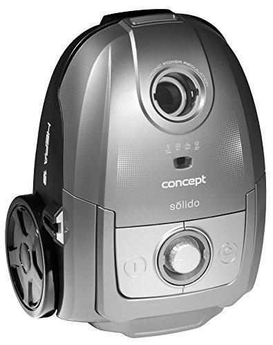 CONCEPT Hausgeräte VP8073 Bodenstaubsauger (700 W, Solido mit Beutel, EEK A, Turboburste und Hartbodenduse, 3 l) silber