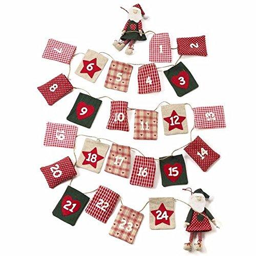 SSITG Kerstmis Advent Kerstman slinger – herbruikbare kalender Countdown (levertijd is 3-7 dagen)