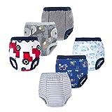 BIG ELEPHANT Baby Boys' Toddler Potty 6 Pack Padded Soft Pure Cotton Pee Training Pants Underwear