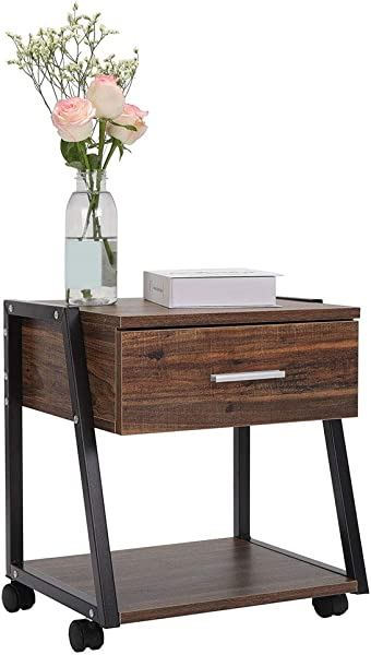 Cocoarm Vintage Nightstand 2 Tier End Table With Storage Shelf Drawer Sturdy Metal Frame Side Table With 4 Rolling Locking Wheels For Living Room Bedroom Wood Storage Table Cabinet Set