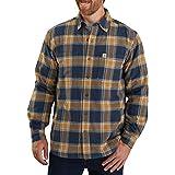 Carhartt Men's Big & Tall Rugged Flex Relaxed Fit Flannel Fleece-Lined Plaid Shirt, Navy, 2X-Large/Tall