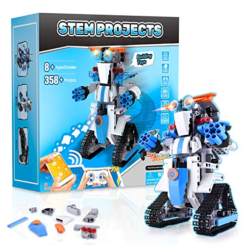 Stem Projects for Kids Ages 8-12 Remote & APP Controlled Robots for Kids -358 Pieces Building Toys Science Experiment Kit for Kids