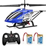 JJRC Helicopter with Remoter Control, JX01 3.5CH Rc Helicopter Altitude Hold Helicopter with 2 Batteries for Kids,Gryo 2.4GHz LED Light for RTF Crash Resistance Helicopter Drone Gift Toy(Blue)